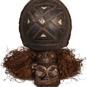 Chihongo Mask - Raphia, Wood - Chokwe - DR Congo