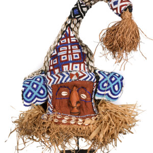 Mukyeem mask - Beads, Cauris, Plant fibre, Raphia, Wood - Kuba - DR Congo