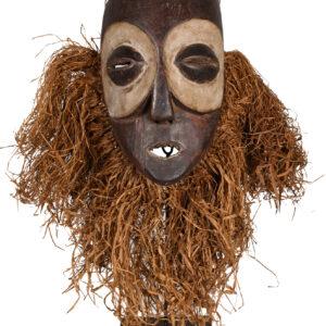Face Mask - Raphia, Wood - Mbangani - Congo