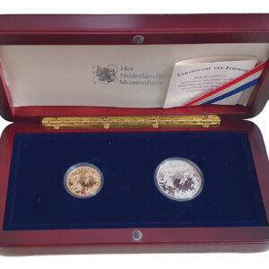 Nederland 10 + 5 Euro 2003 Vincent van Gogh - Beatrix - Gold + Silver Prooflike